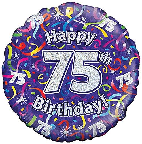 Suki Gifts 75. Geburtstag Luftschlangen Folienballon, violett, 45cm (18