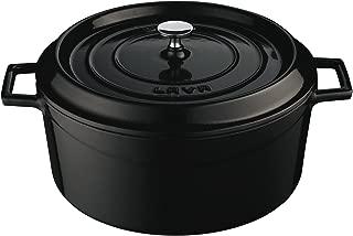 Lava Signature Enameled Cast-Iron Round Dutch Oven - 10-1/2 Quart, Obsidian Black