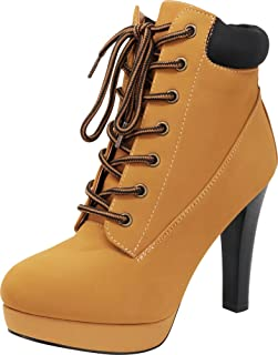 Women's 90s Padded Collar Work Lace-Up Tapered High Heel Ankle Bootie