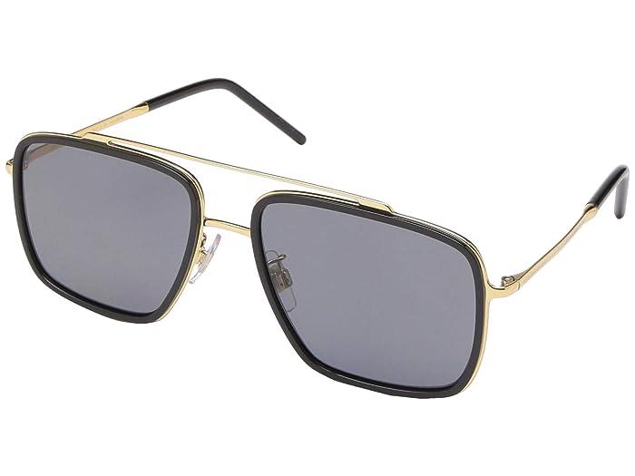 Dolce and Gabbana  DG2220 (Gold/Black/Polarized Grey) Fashion Sunglasses