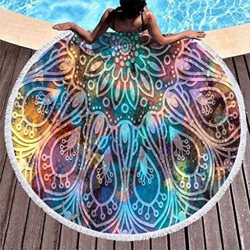 Go Go Grifendoor Toalla redonda de playa para camping, color blanco, 150 cm
