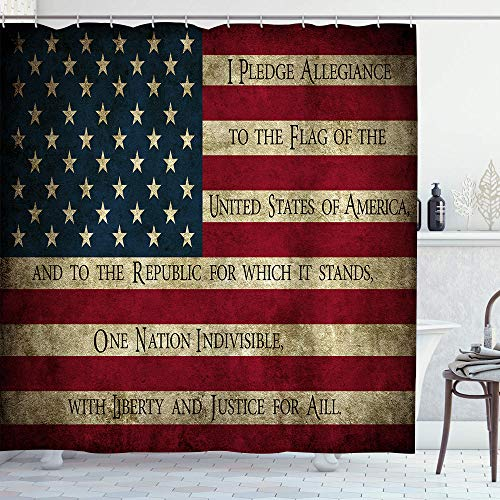 LONSANT Waterproof Bath Curtains Vintage American Flag Pledge of Allegiance Shower Curtain Hooks Included - 72 x 72 inches Bathroom Decorative Ideas Polyester Fabric Accessories