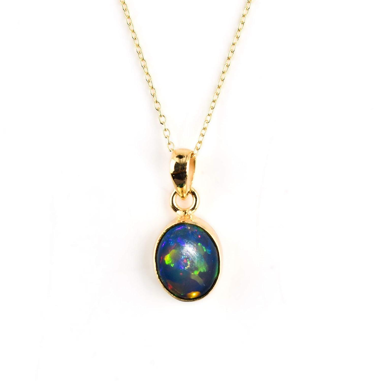 100% Genuine gift Ultra Fire Black Opal Soldering Oval Ethiopian Bezel Cabochon