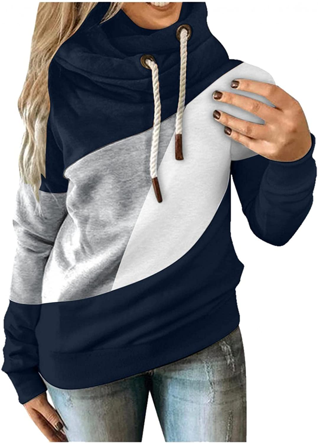 Women Hoodie Color Block Cowl Neck Long Sleeve Sweatshirts Camouflage Casual Fit Drawstring Pullover Tops Blouses