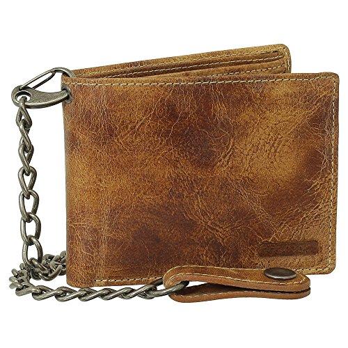Luxus Leder Bikerbörse mit Kette Geldbörse Portemonnaie Geldbeutel 12,5 cm Farbe beige