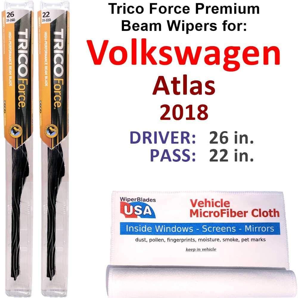 Premium Beam Wiper Blades for 2018 トラスト Atlas Fo Volkswagen ショップ Trico Set