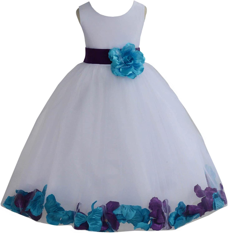 Wedding Pageant Mixed Petals White Flower Girl Dress Toddler Junior Bridesmaid 302t