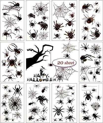 MEIXI 20 Blatt Spinne Temporäres Tattoo, Halloween Spinnennetz Gesicht Tattoos Spinnen und Spinnennetz Temporäre Aufkleber für Cosplay Party Dekoration für Kinder, Halloween Dekoration Gunst Geschenk
