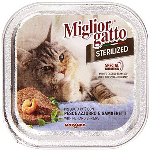 Migliorgatto Sterilized Cibo Umido per Gatti con Pesce Azzurro e Gamberetti, 100g
