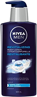 NIVEA Men Revitalizing Body Lotion (625mL), NIVEA Lotion for All Skin Types, Face Lotion, Hand Lotion, Carefully Crafted f...