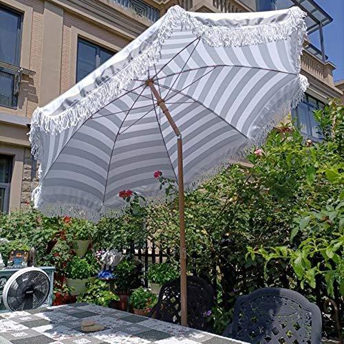 CYY Sombrilla de Playa Redondo de 2.0M,Sombrilla de Patio Al Aire Libre Impermeable y Protección UV con Inclinación Manual,para Terraza Jardín Playa Piscina Patio