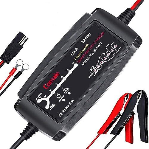 Careslong Chargeur de Batterie Intelligent 12V 5.0A Maintainer Complètement Automatique Charge Rapide 7 Etapes Charge...