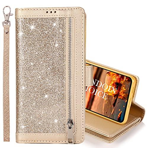 GrandoinChoice Hülle für Samsung Galaxy Note 20, Bling Reißverschluss Handyhülle PU Leder Klapphülle mit 9 Kartenfächer Standfunktion Geldbörse Trageband Schutzhülle Wallet Case (Gold)