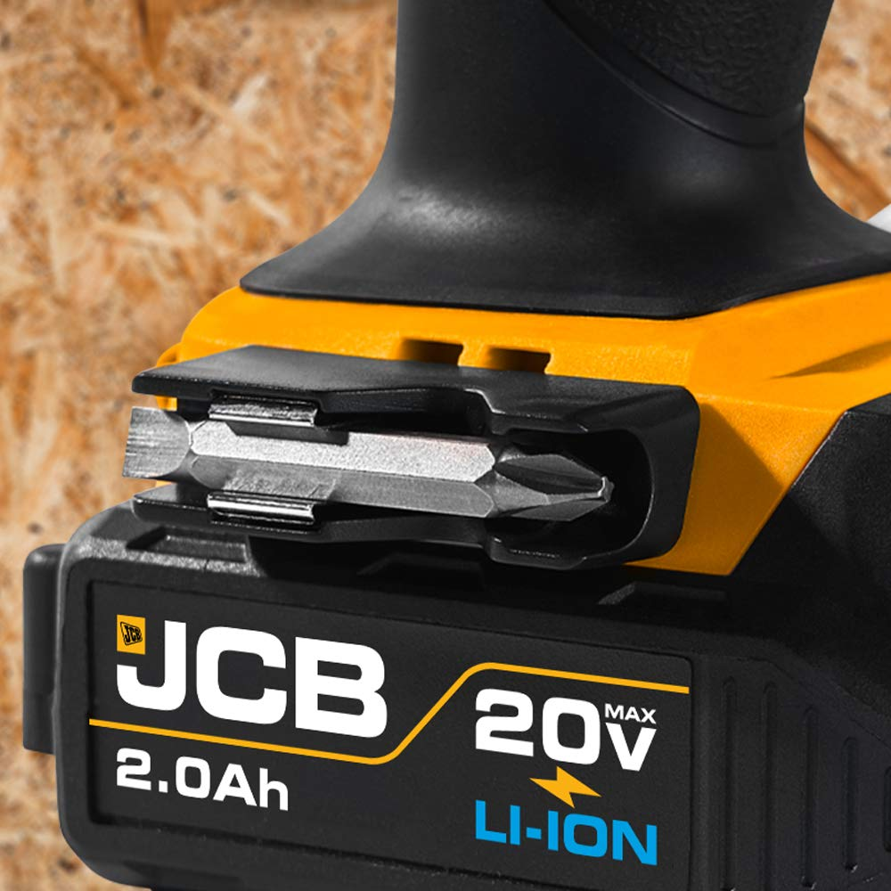 JCB Tools - JCB 20V Cordless Drill Driver Power Tool - Variable Speed - Forward And Reverse Rotation - 2 x 2.0Ah Batteries - Charger And Drill Bit Set - Home Improvements, Drilling And Screwdriving