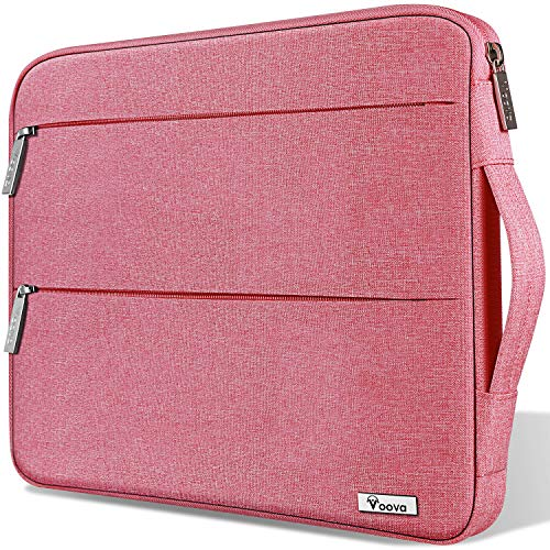 Voova 15 15.6 14 Inch Laptop Sleeve Case with Handle Compatible MacBook Pro /15' Surface Book 2 /XPS 15 /Chromebook,Waterproof Protective Cover Bag with 2 Accessory Pockets for women lady girl-Pink