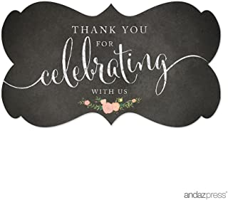 Andaz Press Fancy Frame Rectangular Label Stickers, Thank You for Celebrating With Us, Chalkboard Floral Roses, 36-Pack