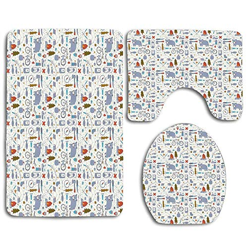 N\A Cartoon Bear Tent and Compass Outdoor Hobby Theme Hiking Doodle 3pcs Bathroom Rugs Set,Non Slip Absorbent Toilet Seat Cover Bath Mat Lid Cover