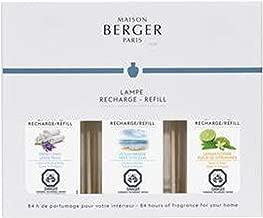 Lampe Berger Fragrance Trio Refill | Fresh Collection | for Home Fragrance Oil Diffuser | 3x6.08 Fluid Ounces - 3x180ml | Fresh Linen, Ocean Breeze, Lemon Flower | Made in France