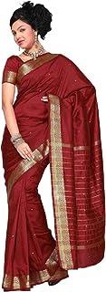 Sanskruti India Womens Indian Ethnic Traditional Banarasi Art Silk Saree Sari Wrap Fabric Dress Drape