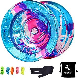 MAGICYOYO Y01 Node Unresponsive Yoyo, Professional Yoyo Alloy Aluminum Yoyo - Superior Stable, + 30% Sleep Time, with 5 Yo-Yo Strings, Bag, Glove (Blue Splash Silver & Pink)