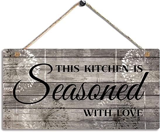 Amazon Com Farmhouse Kitchen Decor Rustic Kitchen Signs Wall Decor Printed Wood Wall Art This Kitchen Is Seasoned With Love Kitchen Wall Decor 11 5 X 6 Everything Else