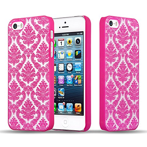 Cadorabo Apple iPhone 5 / iPhone 5S / iPhone SE Hardcase Hülle in PINK Blumen Paisley Henna Design Schutzhülle – Handyhülle Bumper Back Hülle Cover