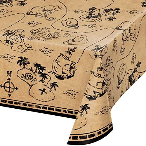 Creative Converting Treasure Island Pirate Plastic Tablecloth, 1 ct Multi Color, 22
