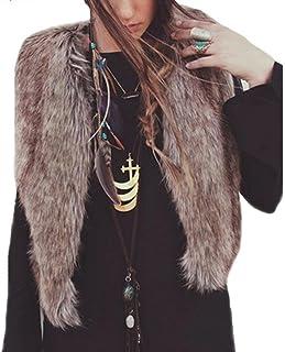 SHOBDW, ¡ Promoción navideña Mujeres Faux Chaleco de Piel sin Mangas Abrigo Chaqueta de Pelo Largo Chaleco