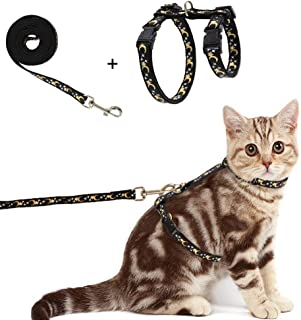 Busypaws Cat Harness with Leash Set - Escape Proof Adjustable Soft Strap with Moon and Star Design for Outdoor Walking,  Glow in The Dark