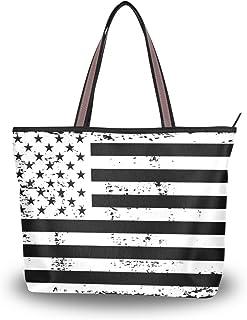 ALAZA Tote Schultertasche USA-Flagge-Schwarz-Weiße Vintage-Handtasche Groß
