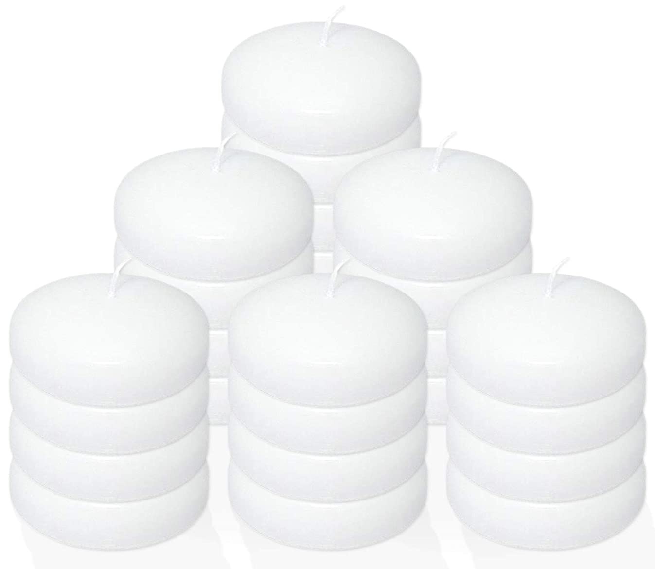 Stock Your Home 10 Hour Burning White Unscented Classic Floating Candles for Weddings, Parties, Special Occasions and Home Decorations (Set of 24)