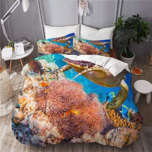 Yaoni Duvet Cover Hawksbill Turtle Eretmochelys Imbricata Floats Under Water Maldives Ocean 100% Washed Microfiber 3pc Bedding Set with for Dorm Hotel Decoration
