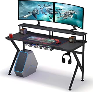 Tribesigns Gaming Desk with Monitor Riser, 55 inches Gamer Computer Desk PC Laptop Gaming Workstation with K Shaped Leg, Under-top Basket, Cup Holder & Headphone Hook for Home Use