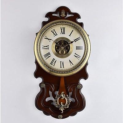 JFFFFWI Wall Clock in Nordic Wood,View Clock Lounge Simple Clock Alarm Clock Retro-