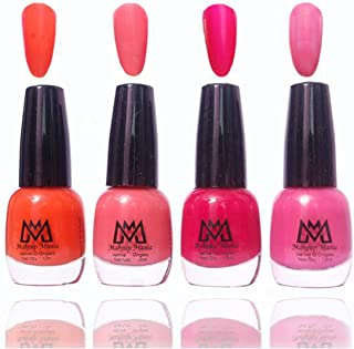 Makeup Mania Premium Nail Polish Exclusive Nail Paint Combo (Orange, Pink, Red, Peach, Pack of 4)
