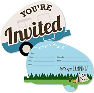 Happy Camper - Shaped Fill-In Invitations - Camping Baby Shower or Birthday Party Invitation Cards with Envelopes - Set of 12