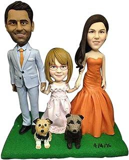 Familia personalizada personalizada con niños Mascotas Pastel de bodas Topper Bobble Head Figura de arcilla basada en foto...