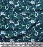 Soimoi Blau schwere Leinwand Stoff Mond & Sterne Galaxis