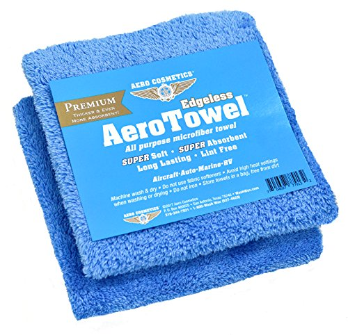 Premium Edgeless Microfiber Towels (2-Pack) Super Soft, Super Absorbent, Long Lasting, Lint Free for waterless car wash and Wet Washing!