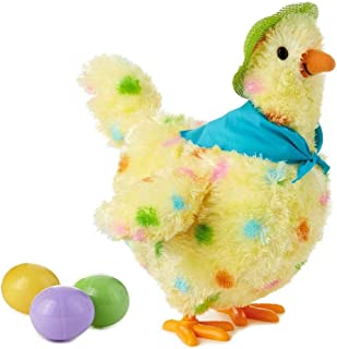 Ladeyi Hen Laying Eggs Toy Plush Toy Under The Egg Will Lay Eggs Hen Funny Toy Electric Toy Doll A Chicken That lays Eggs Gifts Birthday Gift Easter Gift for Kids