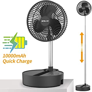 Battery Operated Folding Stand Fan,Adjustable Height,3 Speeds Settings,Auto Oscillation,10000mAh,5V/2A Fast Charging