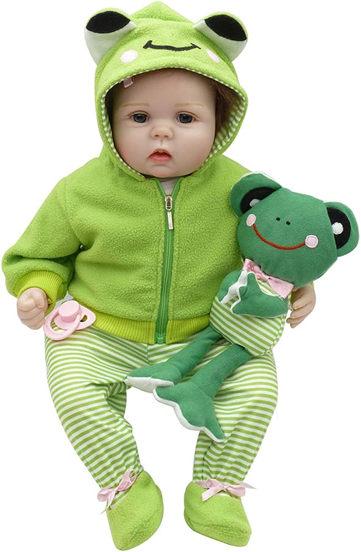 CAheadY 55cm Simulation Reborn Babypuppe Lebensechte Vinyl Silikon Kinder Begleiten Spielzeug Grün
