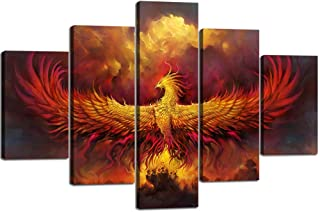 Painting on Canvas Frame Burning Phoenix Drawn in Heraldic Style 5 Panel Wall Art Vintage Pictures Print For Home Decor Framed for Living Room Giclee Framed Hooks Stretched Ready to Hang(60''Wx40''H)