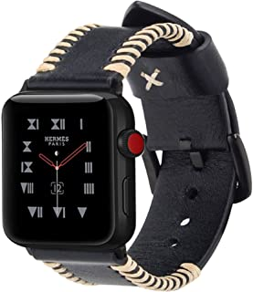 for Apple Watch Band Leather, Ocyclone Genuine Leather iWatch 42mm Strap Replacement Band with Stainless Metal Buckle for Apple Watch Series 4 Series 3 Series 2 Series 1 Sport and Edition, Black