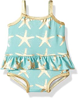 Masala Baby Girls Baby Ruffled One Piece Starfish Turquoise