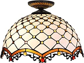 White Tiffany Ceiling Fixture Lamp Semi Flush Mount 16 Inch Stained Glass Lampshade for Dinner Room Living Room Bedroom E2...