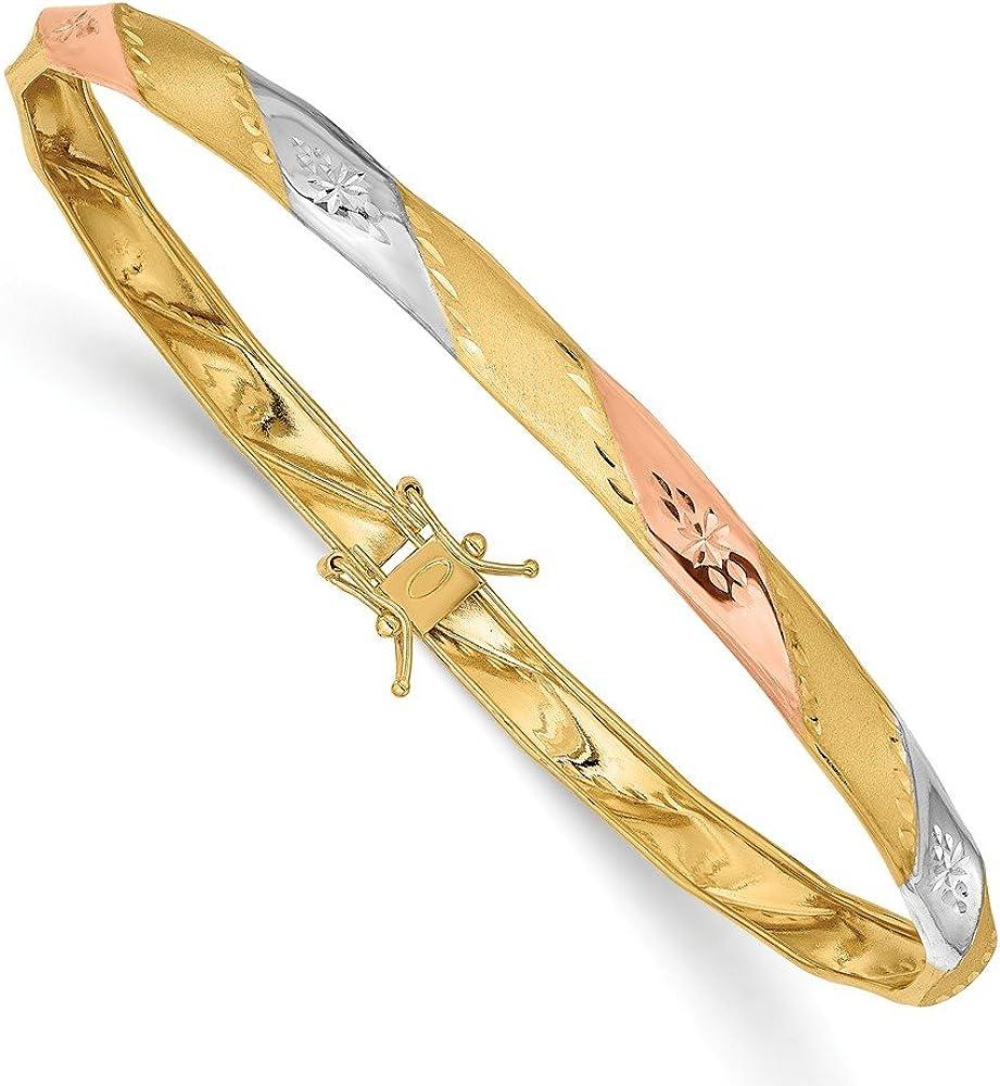 Solid 14K Yellow Gold White and Rose Diamond-Cut Flex Bangle Cuff Bracelet