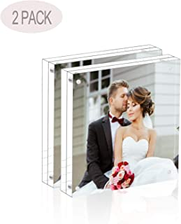 Magicool Premium Acrylic Photo Frame(2 Pack) - 4x4 inches Magnet Photo Frame -Double Sied Thick Desktop Frames