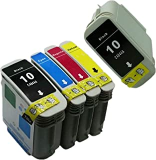 No-name Compatible Ink Cartridge Replacement for HP 10 HP10XL 10XL HP10 Designjet 110 Plus nr 70 Officejet Pro K850 K850dn 9100 9110 9120 9130 (2 Black 1 Cyan 1 Magenta 1 Yellow, 5 Pack)