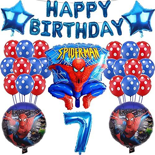 Yisscen 7 Años Juego de Decoraciones de Cumpleaños Superhéroes con Globos, Pancarta de Cumpleaños con Globos, Suministros de Fiesta, para 7 Años Decoración de la Fiesta de Cumpleaños del Niña Chico